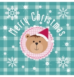 Christmas Background with snowflake and teddy bear vector