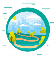 cityscape buildings park trees path sticker vector image