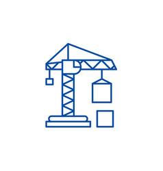 Civil construction crane line icon concept civil vector