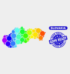 Colored mosaic slovakia map and scratched gdpr vector
