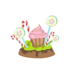 Cupcake Hard Candy Stick And Lollypop Vegetation vector