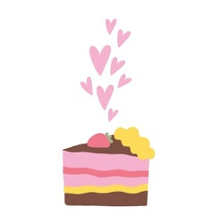 Cute cartoon cake with hearts vector image