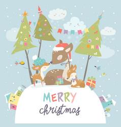 cute cartoon deer family merry christmas and vector image