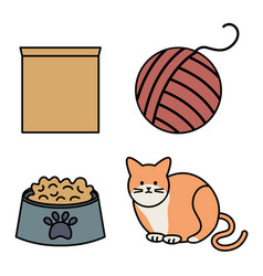 cute cat mascot with wool ball toy and dish food vector image