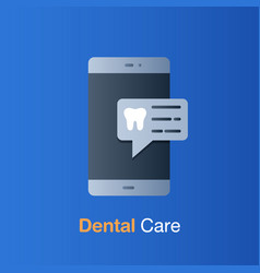 Dental care concept appointment on mobile to vector