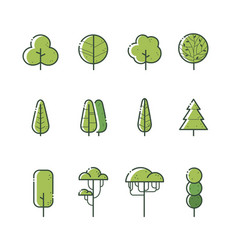 different types tree icon set vector image