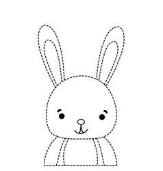 Dotted shape adorable and happy rabbit wild animal vector