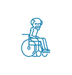 elderly invalid linear icon concept elderly vector image