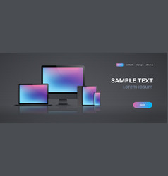 Electronic devices mockup set laptop monitor vector