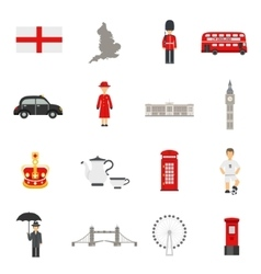english culture flat icons collections vector image