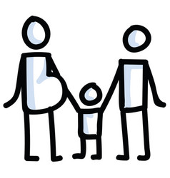 family stick figures hand vector image