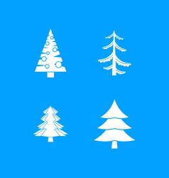 fir tree icon blue set vector image