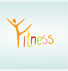 fitness silhouette character design template vector image
