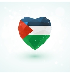 Flag of Palestine in shape diamond glass heart vector