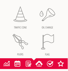 Flag traffic cone and oil change icons vector