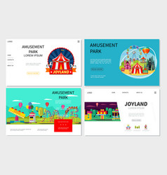 flat amusement park websites set vector image