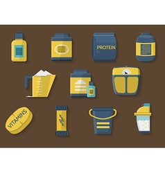 Flat color icons for athlete diet vector image