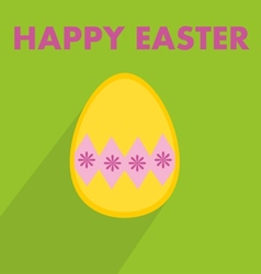 Flat easter egg with wishes on green background vector image