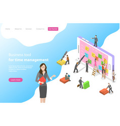 Flat isometric landing page template for vector