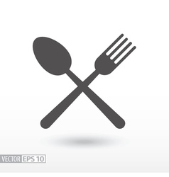 Fork and spoon - flat icon Sign Food vector image