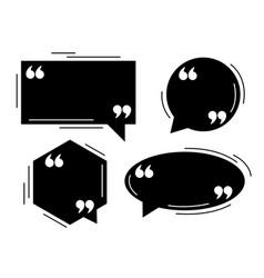 Four black quotes dialog balloons template set vector