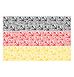 german flag pattern of sickle and hammer items vector image