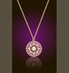 Gold pendant with precious stones on dark vector