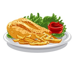 grilled chicken breast vector image vector image