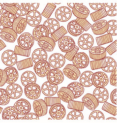 Hand drawn pasta rotelle or ruote seamless pattern vector