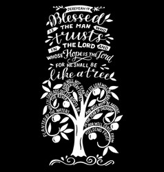 Hand lettering blessed man who trusts in lord vector