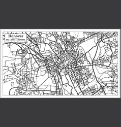 hannover germany city map in retro style outline vector image