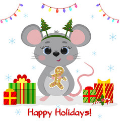 Happy new year and merry christmas a cute mouse vector