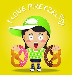 Happy woman carrying big pretzel on her arms vector