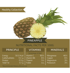 healthy collection pineapple vector image