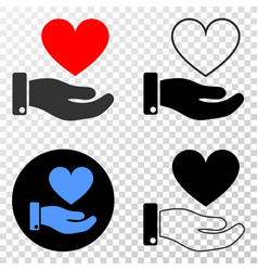 heart donation hand eps icon with contour vector image