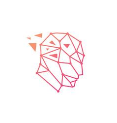 Human head geometric tech digital think smart vector