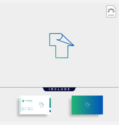 Initial t for paper or page logo template vector