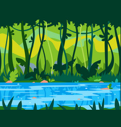 Jungle river game background vector