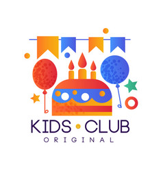 kids club logo original colorful creative label vector image