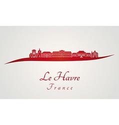 Le Havre skyline in red vector image