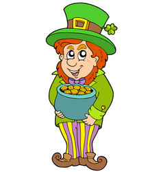 leprechaun with treasure pot vector image