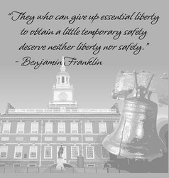 Liberty bell and independence hall vector
