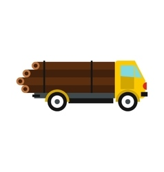 Logging truck with logs icon flat style vector