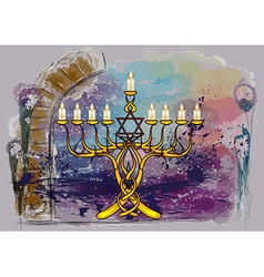 Menorah with candles vector