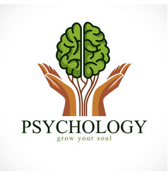 Mental health and psychology concept icon or logo vector