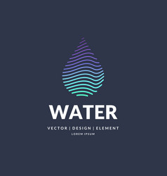 Modern line logo of the water drop vector