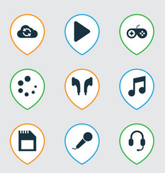 music icons set with earphone play music and vector image