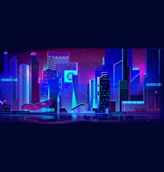 Night city in neon lights futuristic architecture vector