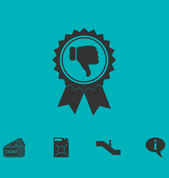 Not recommended award icon flat vector
