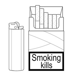Open cigarettes pack with gas lighter Contour vector